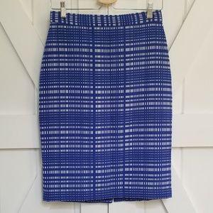 Banana Republic Textured Weave Blue Pencil Skirt
